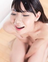 Bare Japanese chick Tojo Aki gets man chowder on face after sucking shaft on knees