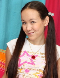 little teenage with ponytails Amai Liu displays off her little knockers & frigs her pussy