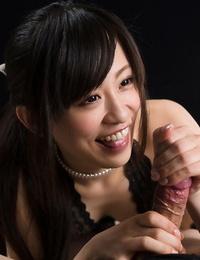 Slurps little Japanese girl plays with her BFs shaft until it splashes for a taste