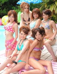 Tasty Japanese shriek in sexy bathing suits flaunt their ultra-cutie poolside