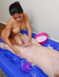 Asian masseur Priva demonstrating ancient Oriental massage techniques