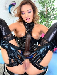 Ravishing Asian Alina Li in pawing & lengthy gloves dons thick strap-on to peg Beau