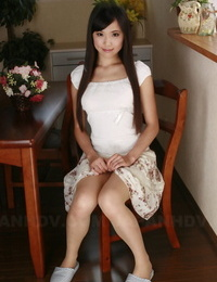 Japanese sweetie Shiho Miyasaki hoists her micro-skirt up and gushes pink cooch