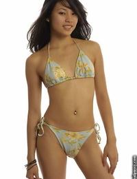 Slipppy thai floosie with pierced blondie button sliding off her bathing suit