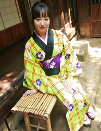 Sweet Japanese lady hikes her kimono && stretches to showcase her hairy beaver