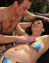 Mature granny Helena May swallows and rails a youthful guys hard-on