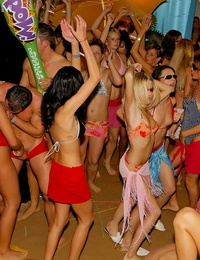 Tipsy hoes shed their threads to fuck and deep-throat and gobble pussy at scorching club loudly