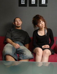 Asian redhead Sakura sports a pearl necklace after a couples screw