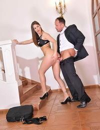 Warm girl Jenifer Jane blows her guy in stellar hooter-sling and subjugation before screwing
