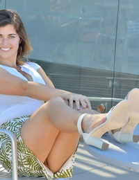Big-titted teenage maze no panty upskirt in public before masturbating at home
