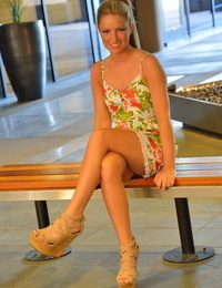 Warm blonde in high pigtail freeing toned bare bod from sundress and panties