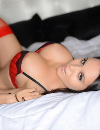 Beautiful amateur Bryci demonstrating her awesome hooters in splendid undies and tights