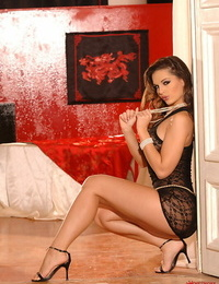 Handsome solo chick Eve Angel peels off sheer sundress and undies to pose bare