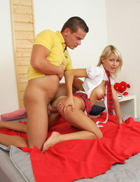 Youthfull blonde girl shares a pizza before getting screwed by her stud friend