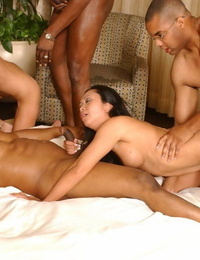 Oriental chicks lick cum from lips after hard-core sex with hung black guys