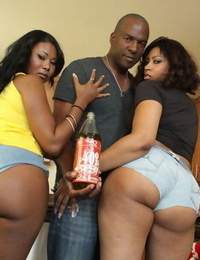 Captured bellowing with expressed asses lovemaking for an ebony three-way