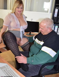 Thick secretary Bare Chrissy taunts her manager in a watch thru blouse and micro-skirt