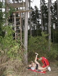 Mature Plumper Hilena blows joggers shaft and tastes gloppy jism outdoors
