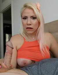 Light-haired girl Dolce Vandela uncover a boob while agony stepsons big shaft