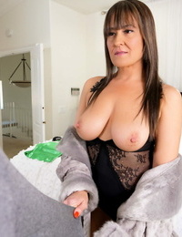 Super-naughty stepmom Elexis Monroe catches jizz on her juggs after huge-boobed her stepson