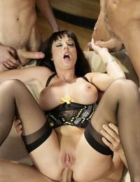 Engulfs MILF Melissa Lauren plays the part of a cum dumpster during a group sex
