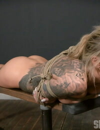Inked hot ash-blonde victim Karma Rx suffered forced Domination & submission skull bang & tit tart\'s