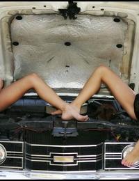 Warm teens Jayden and Jana Jordan model bikinis during safe for work act