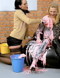 Kinky blonde honey is into messy fetish action with her deep-throaters friend