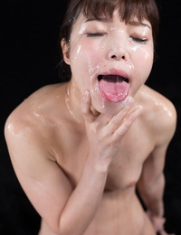 Asian bombshell deep-throats hard huge cocks & gets her petite bare assets cum covered