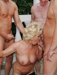Nomable granny with big plump jugs gets blowbanged and bukkaked outdoor