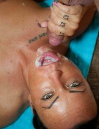 Brief hair chick sports a jism in throat after being gangbanged