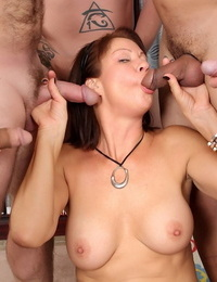 Mature whore Vanessa Videl spills cum from her facehole after being gangbanged