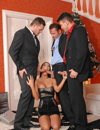 Angelica Heart in one sloppy whore buxom the Dped out of 3 guys dicks