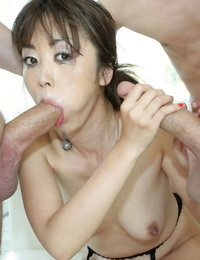 Erotic Asian Marica Hase swallows a liquid ton of cum in horny blowbang