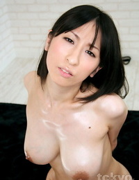 Big-titted Japanese girl masturbates while being facehole pounded in the nude