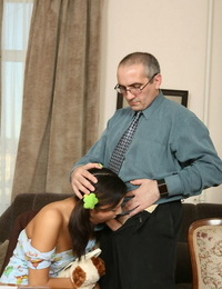 Barely legitimate chick Svetlana gets mouth pounded by her teacher for a passing mark