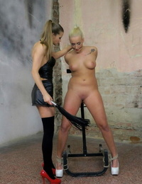 Trussed up lesbian Daisy Lee gets pleasured by a dominant Czech female Sarah Kay