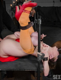 Short haired nymph finds herself an unwilling lovemaking sub to hooded men