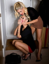 Scorching blonde domme gags and trusses her blonde slave for harsh lezdom hook-up