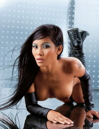 Molten Asian model strikes fine naked poses in leather palm socks and shoes
