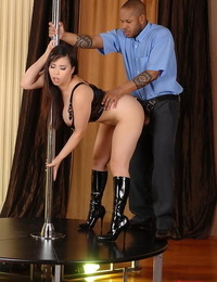 Curvy Asian Tigerr Benson baring fat hooters before providing bj on knees