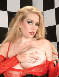 Magnificent blond with gargles eyes Kali West rare her huge tits of a bodystocking