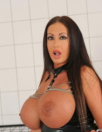 Superb female dom fetish scene with big-titted stocking clad mistress Emma Nut