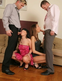 Nasty coeds Kitty Jane and Ally Style get nuts fucked and share spunk