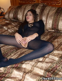 JOI Nina James pulls her crotchless pantyhose up and over her pussy
