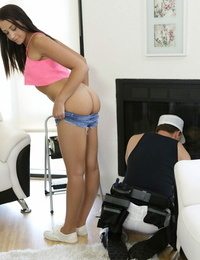 Innocent teenager Avi Enjoy gets bent over and peeks by her stepdad early morning