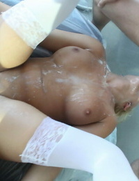 Four hottest buddies go all out to get a cum facial cumshot in this horny daytime orgy