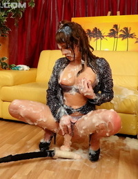 Dressed woman gets doused in cum before eliminating her pants for a dildo screw