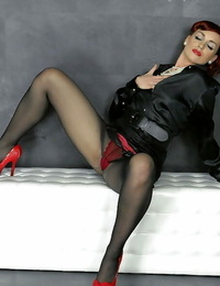 Clothed european dame Kety Nub enjoys sloppy gloryhole act with fake cock