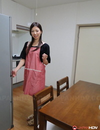 Japanese housewife Mizuho Yamashiro blows and pounds her stud when he gets home